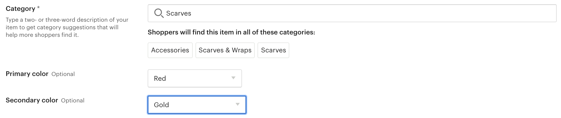 Etsy listing categories