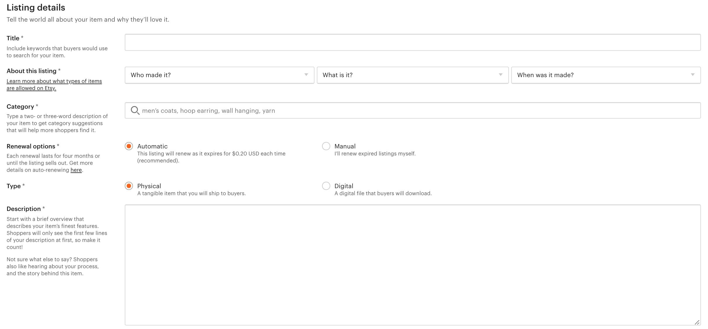 Etsy listing details form