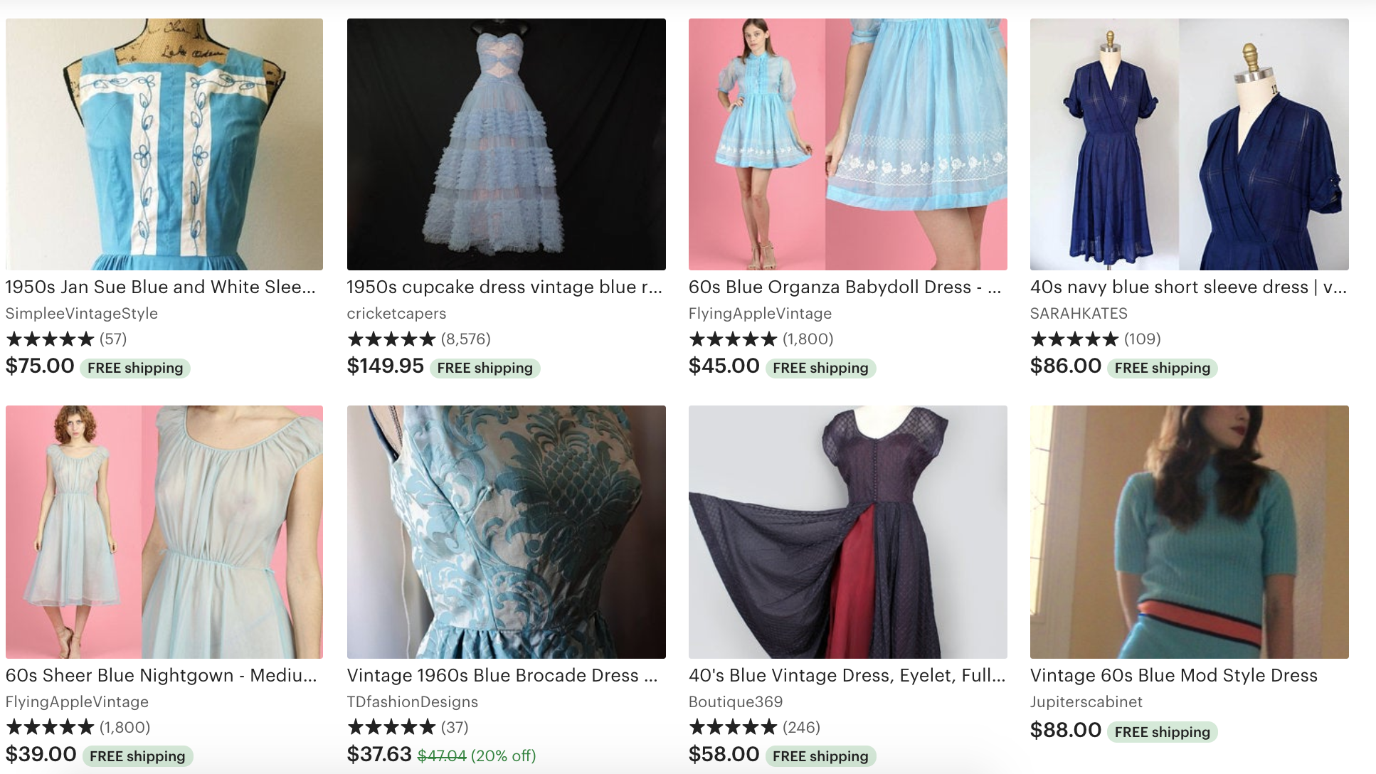 Etsy vintage blue dresses from different sellers