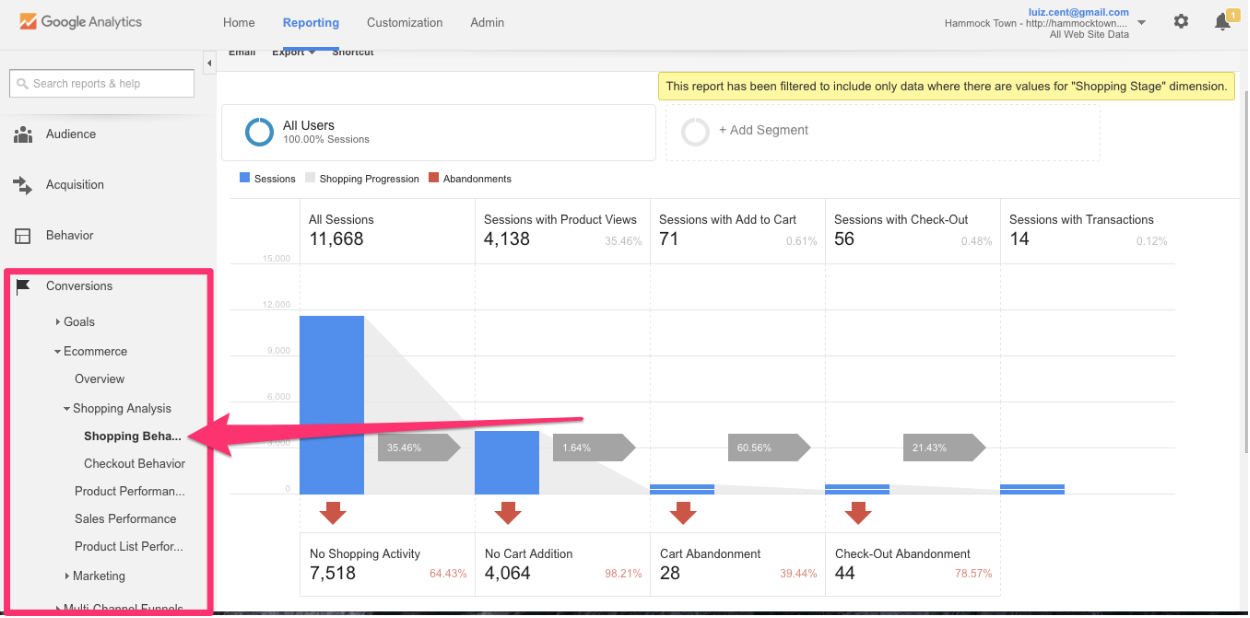 Shopping Behavior in Google Analytics