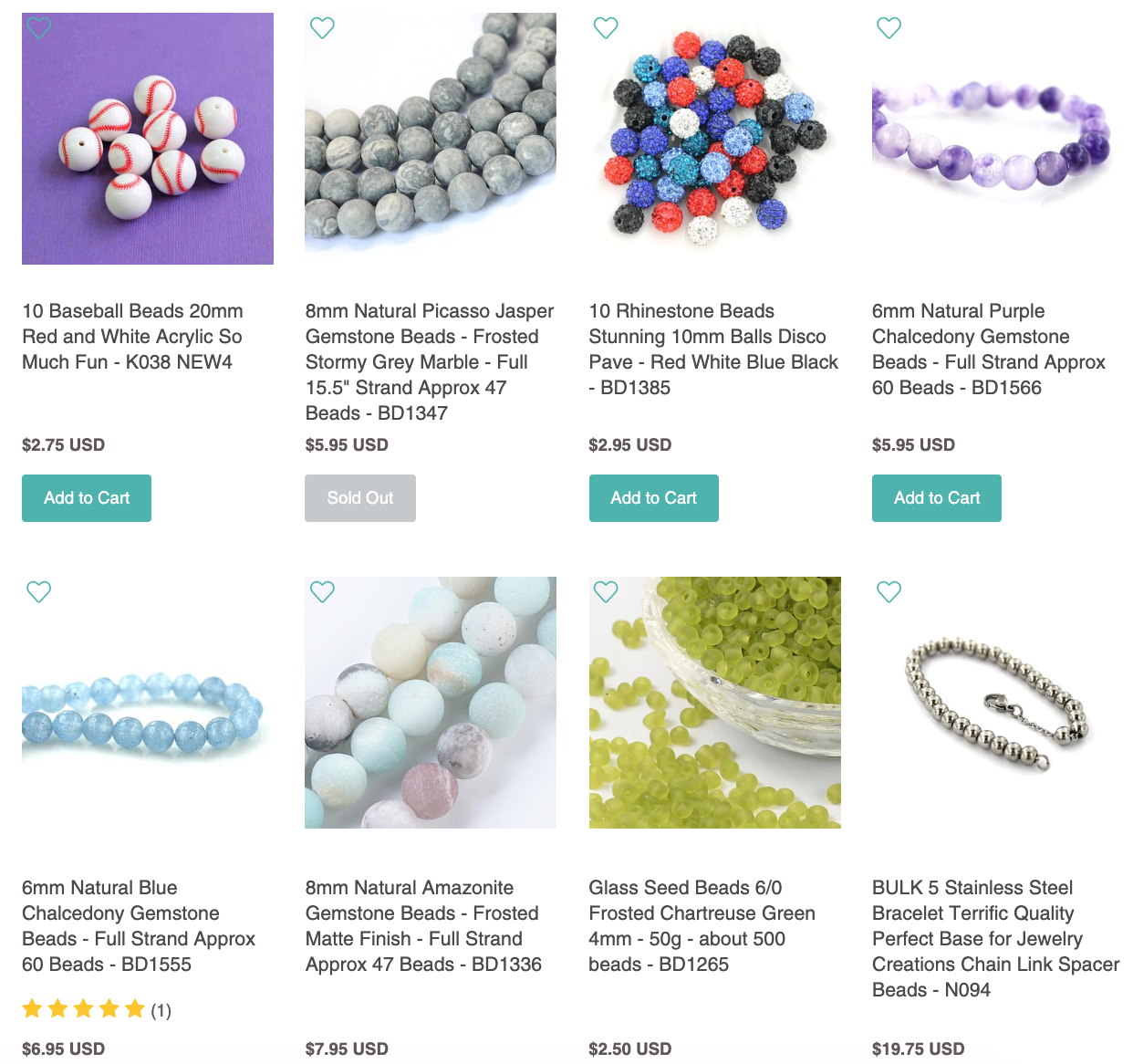 beads for sale on Bohemian Findings