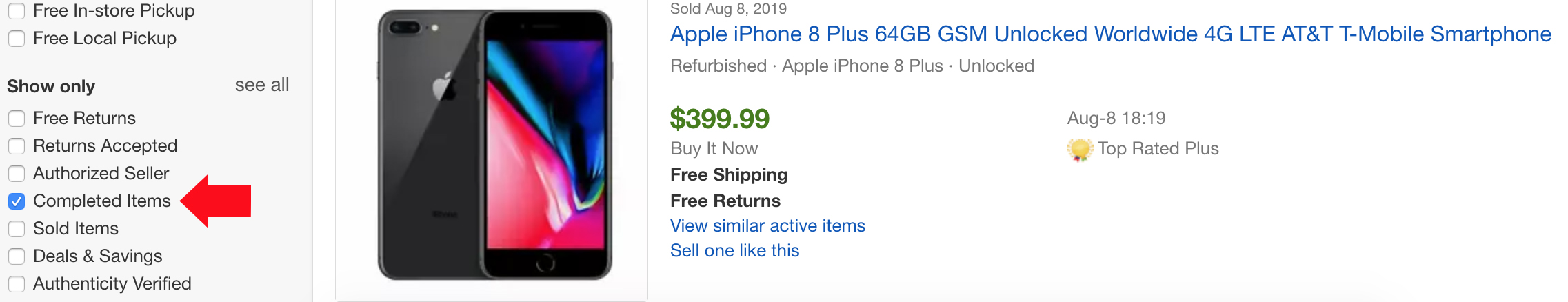 completed iPhone sale on ebay