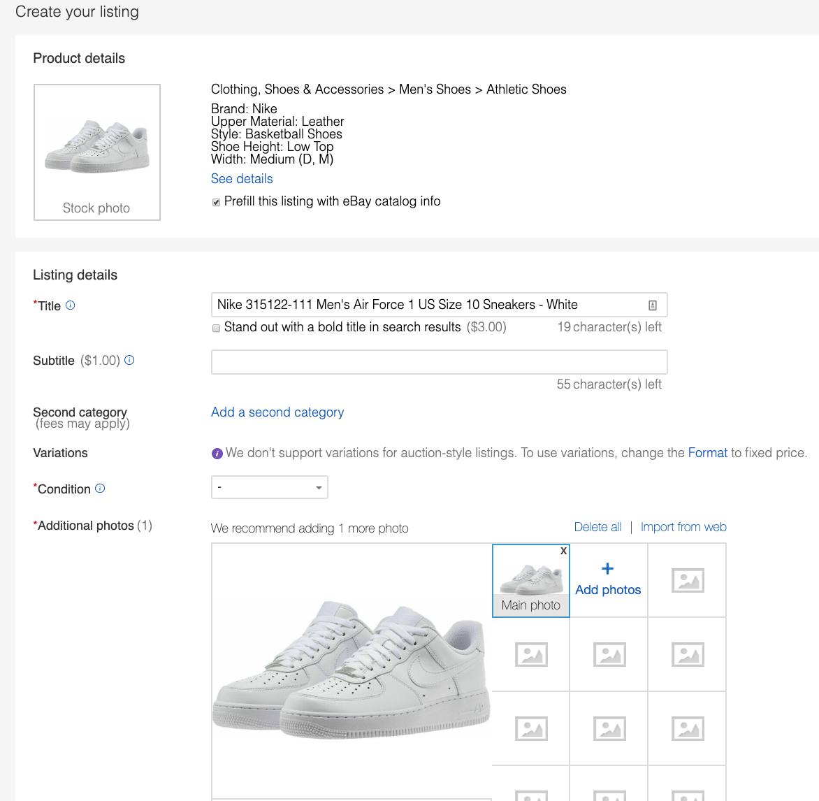 create ebay listing