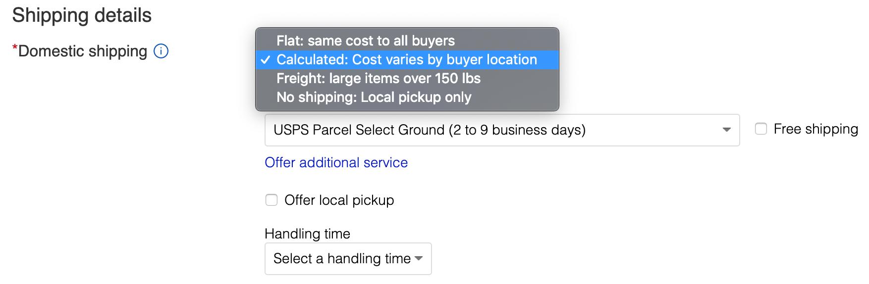 domestic shipping on ebay