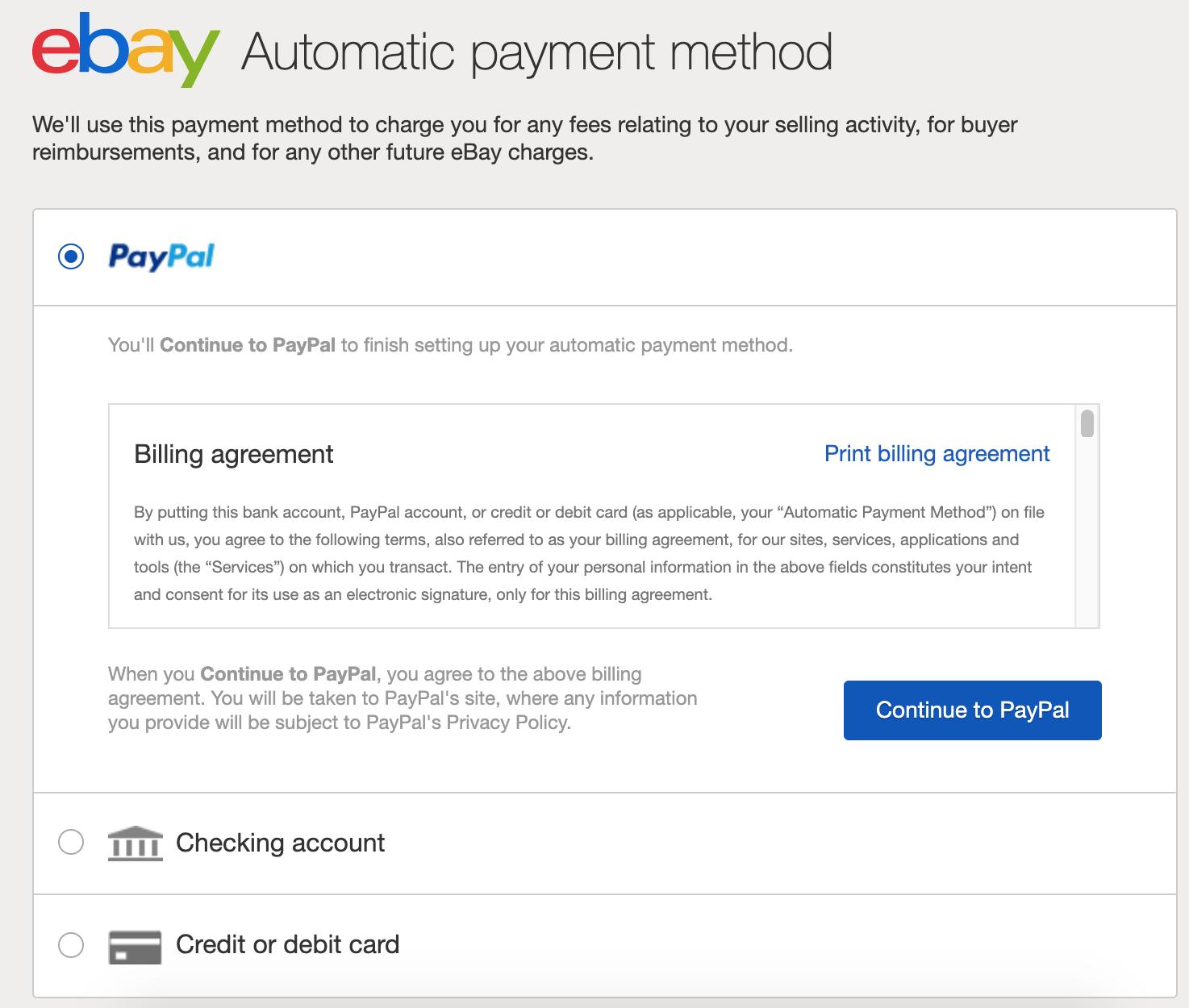 ebay choose payment method