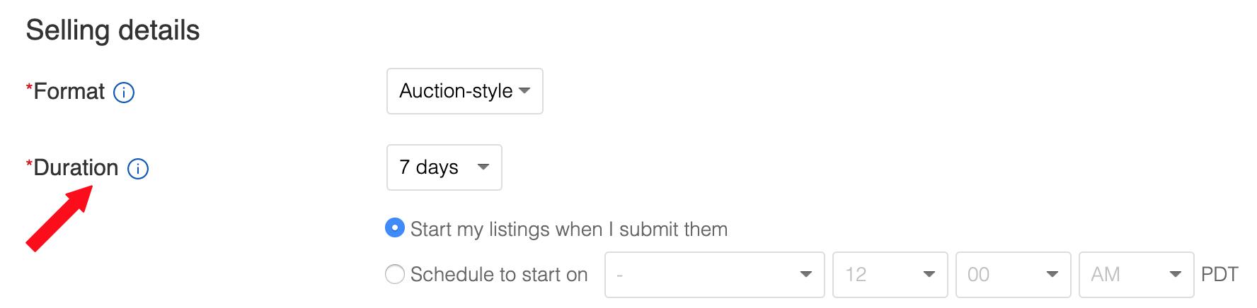 ebay sell duration