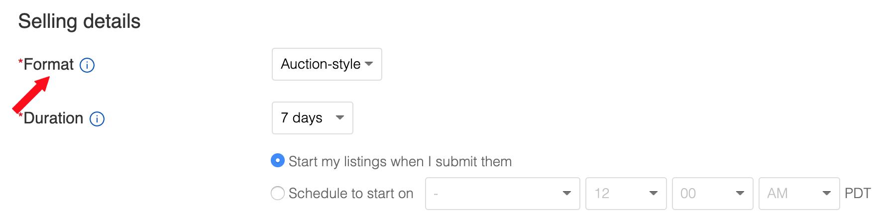 ebay sell format
