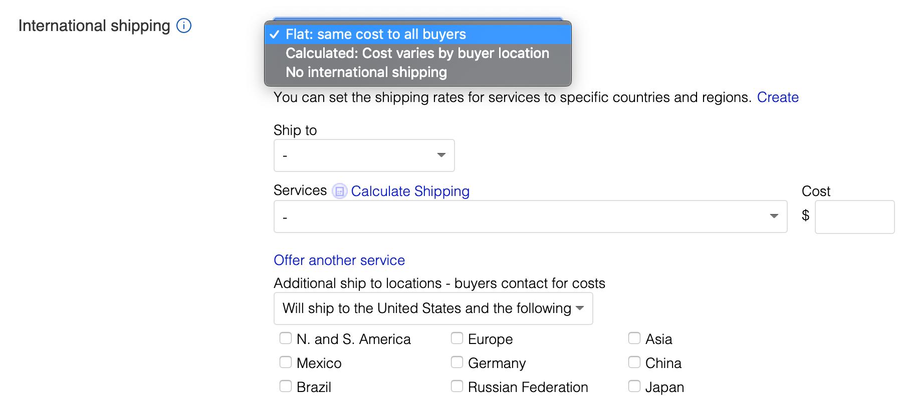 ebay set up international shipping